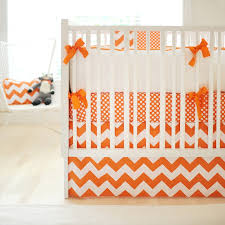 Yellow And Grey Baby Bedding Sets by Orange Chevron Crib Skirt Zig Zag Baby In Tangerine Crib