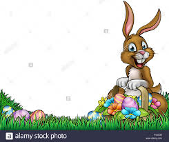 an easter background frame border cartoon with a bunny holding a