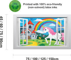 unicorn castle and rainbow 1 3d window scape graphic art mural unicorn castle and rainbow 1 3d window scape graphic art mural wall sticker enhance