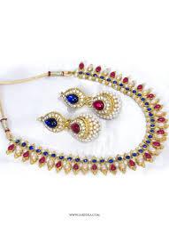 red colour necklace set images Shop stone work multi colour necklace set online 84567 jpg