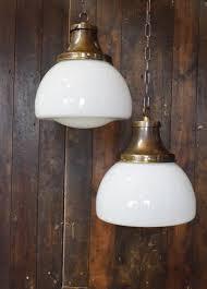 Schoolhouse Pendant Lights Lighting Vintage Opaline Schoolhouse Pendant Light With Chain