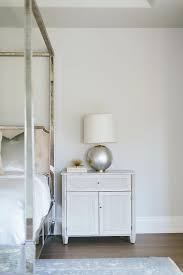 Mirrored Canopy Bed Gray Cabinet As Nightstand Transitional Bedroom