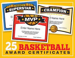 elite basketball award certificate templates boys and girls teams