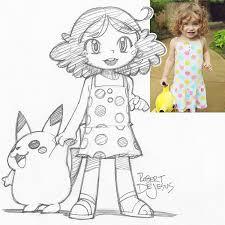 artist turns portrait photos anime disney character sketches
