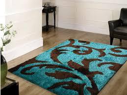soft indoor bedroom shag area rug brown with turquoise indoor