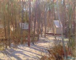 cabin in snow cape cod oil on canvas by kevin mc namara kevin