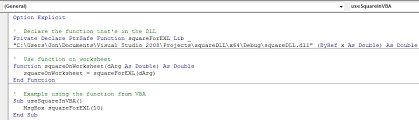 how to call c functions from excel using a dll written in c or c