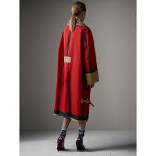 bonded cotton oversized seam sealed car coat in red beige women