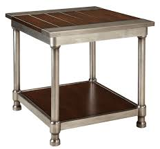 Wood Plank Shelves by Contemporary Single Shelf End Table With Plank Style Wood Top And