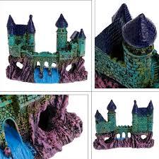 resin european waterfall bridge castle aquarium ornament fish tank