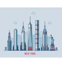 new york city skyline sketch royalty free vector image