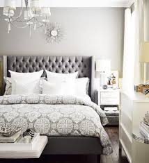 Bedroom Ideas Using Grey Light Grey Wall Color With Silver Tufted Upholstered Headboard For