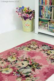 Raspberry Pink Rug Vintage Home 1940s Rose And Floral Pink Rug Florals
