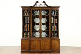 Break Front Bookcase Baker Signed Vintage Georgian Breakfront China Display Cabinet Or