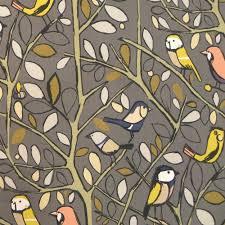 Upholstery Fabric Edinburgh Tweety Charcoal Cotton Bird Print Curtain Fabric Closs U0026 Hamblin