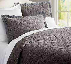 Silk Duvet Set Washed Velvet Silk Quilt U0026 Sham Flagstone Gray Pottery Barn