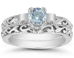 aquamarine wedding rings 1 2 carat deco aquamarine bridal ring set 14k white gold