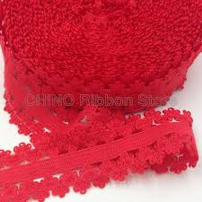 stretchy ribbon 10y 22mm frilly edge lace ribbon stretchy picot lace trim fold