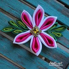 flower bow kanzashi flower bow 4 steps with pictures