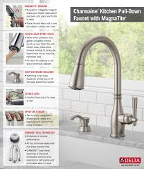 Delta Brushed Nickel Kitchen Faucet by Delta Charmaine Single Handle Pull Down Sprayer Kitchen Faucet