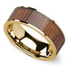 mens yellow gold wedding bands wide koa wood inlay men s wedding ring in yellow gold