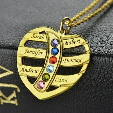 Kids Names Necklace Gold Color Engraved Heart Family Name Necklace Birthstones Kids