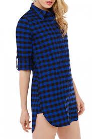 dark navy boyfriend style plaid pattern shirt dress