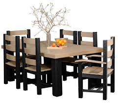 tables chairs amish merchant 4 x 6 contemporary table set weatherwood black