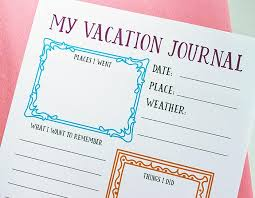 printable vacation journal pages free printable travel journal for your family vacation memories