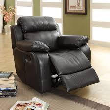 Faux Leather Recliner Shop Homelegance Marille Black Faux Leather Recliner At Lowes Com