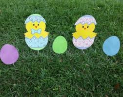 Lawn Easter Egg Decorations by Easter Yard Art Wood Painted Easter Yard Decoration Easter