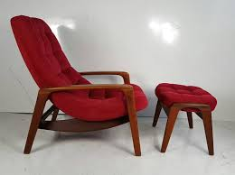 teak lounge chair by and ottoman r huber mid century danish