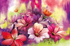 elegant flower bunch watercolor painting floral wallpaper walls