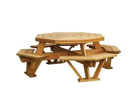 Free Plans For Building A Picnic Table by Pine Octagon Picnic Table With Benches