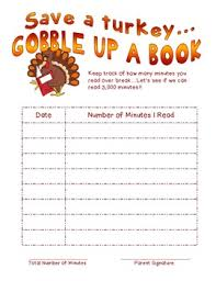 thanksgiving reading log by hart teachers pay teachers