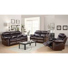 Brown Leather Recliner Sofa Set Abbyson Braylen 3 Top Grain Leather Reclining Living Room