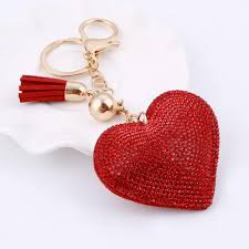 red key rings images Minhin love heart pendant key chains for girls tassel design red jpg