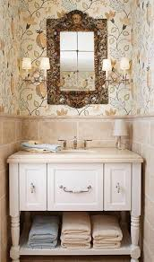 bathroom inspiring classic with beige wallpaper and bathroom inspiring classic with beige wallpaper and distressed vanity also rustic mirror