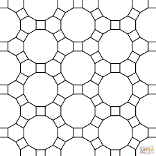 tessellation with hexagon dodecagon and square coloring page for