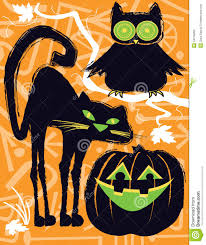 halloween owl cat and jack o lantern stock photography image