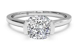 palladium jewelry cushion cut solitaire semi bezel set diamond engagement ring in