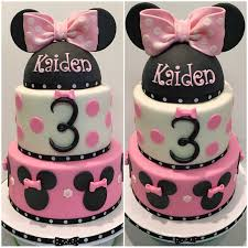 mymonicakes minnie mouse cake with fondant ear topper and bow