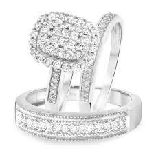trio wedding sets 1 1 3 carat t w princess cut diamond trio wedding set 14k
