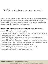 Sample Resume For Housekeeping Top8housekeepingmanagerresumesamples 150402093713 Conversion Gate01 Thumbnail 4 Jpg Cb U003d1427985476