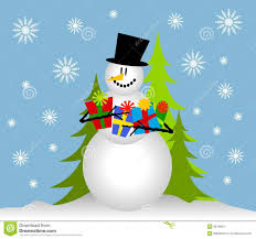 snowman holding christmas gifts stock images image 3619954