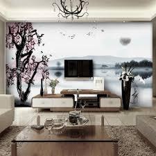 Creative Ideas For Home Interior Decoration Ideas Creative Blue Scene In Pink Sakura Wall Painting