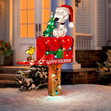 snoopy and woodstock on mailbox lighted outdoor christmas