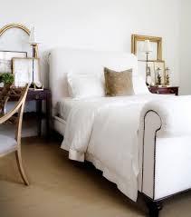 White Single Sleigh Bed Upholstered Sleigh Bed Transitional Bedroom Restoration