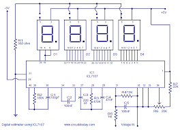 digital voltmeter using icl7107 electronic circuits and diagram