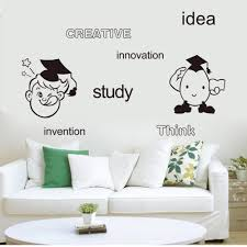 creative idea study innovation think invention english words wall material pvc size pack one piece wall decal with transfer film pattern cartoon kids creative idea english words saying usage home decoration